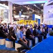 The OneSubsea booth still active on the final day of OTC  providing presentations to the attendees, Thursday, May 8, 2014, in Houston. ( Marie D. De Jesus / Houston Chronicle )